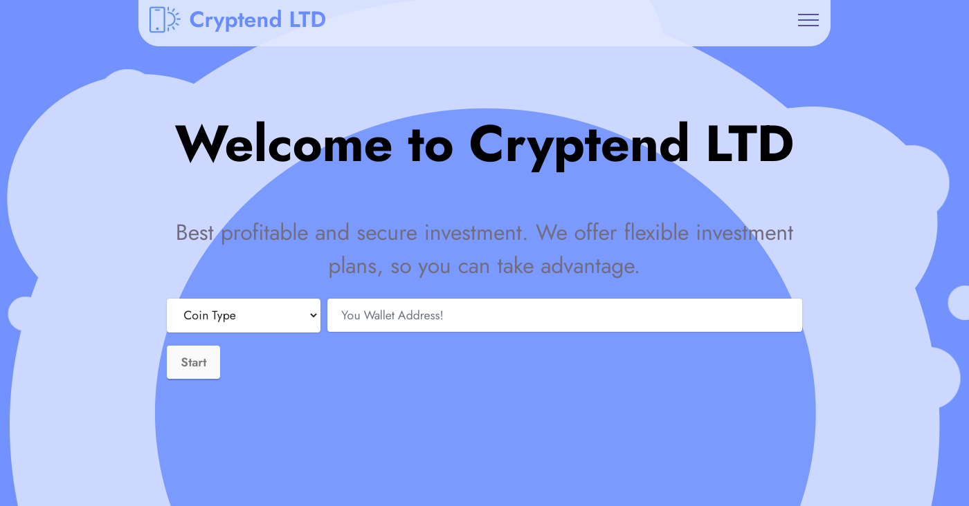 Cryptend.ltd Homepage Image