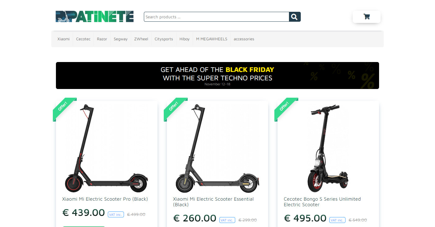 Patinete.eu Homepage Image