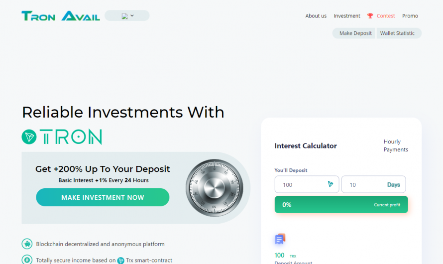 Tronavail.com Reviews [2020] This Investment Is Not Worth Your Money